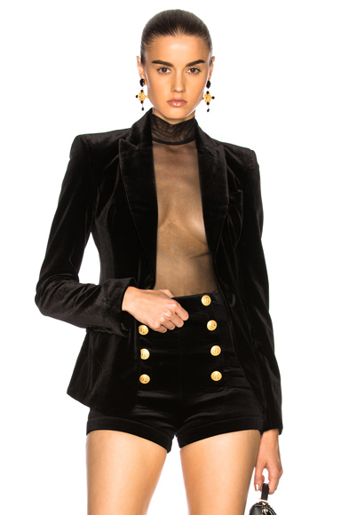 NICHOLAS Bonded Velvet Blazer in Black
