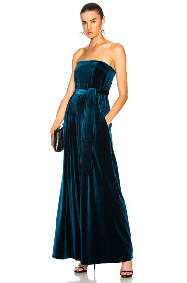 NICHOLAS Strapless Velvet Jumpsuit in Blue