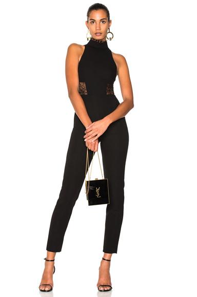 NICHOLAS Crepe Panel Lace Jumpsuit in Black