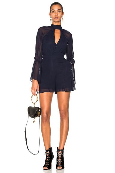 Photo of NICHOLAS Mock Neck Romper in Blue online womens jumpsuits sales