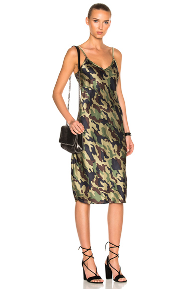 NILI LOTAN Mid Cami Dress with Velvet Straps in Abstract, Green