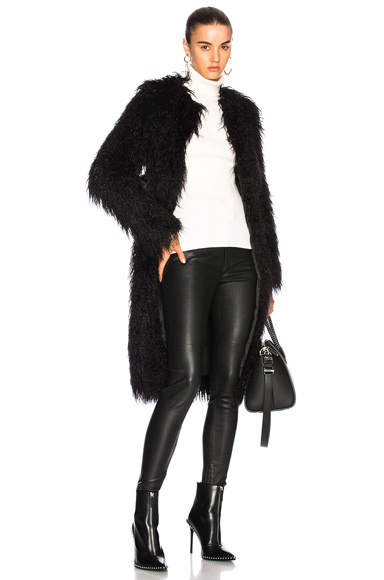 NILI LOTAN Moxie Faux Fur Coat in Black