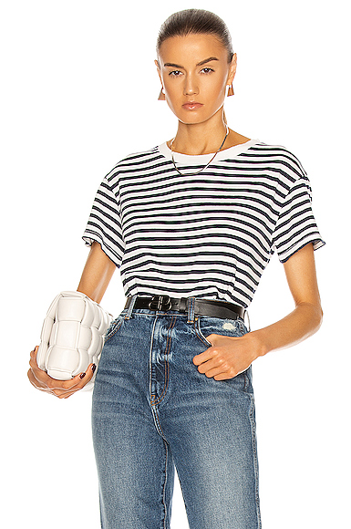 NILI LOTAN | NILI LOTAN Stripe Brady T Shirt In Blue. - Size M (Also In L,S,XS) | Goxip