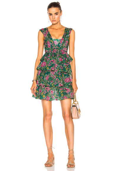 No 21 Ruffle Mini Dress in Floral, Green