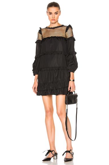 No. 21 Ruffle Mini Dress in Black