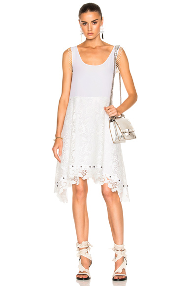 No. 21 Tank Lace Dress in White
