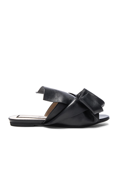 No 21 Knot Front Leather Sandals in Black