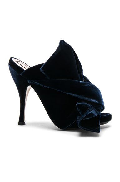 No 21 Velvet Bow Heels in Blue