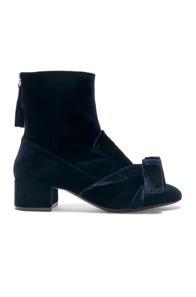 No 21 Tie Velvet Boots in Blue