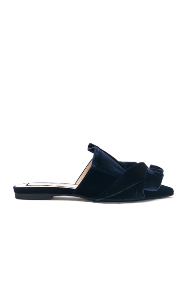 No 21 Tie Velvet Slip Ons in Blue