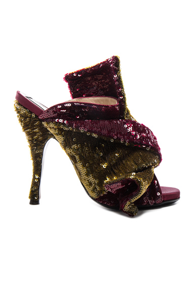 No. 21 Sequin Embellished Bow Mules in Metallics, Red
