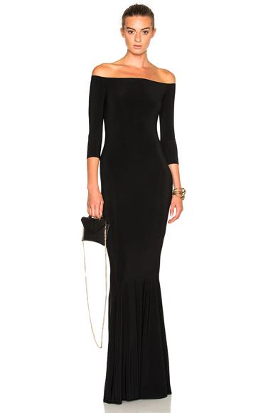 Norma Kamali Off Shoulder Fishtail Dress in Black