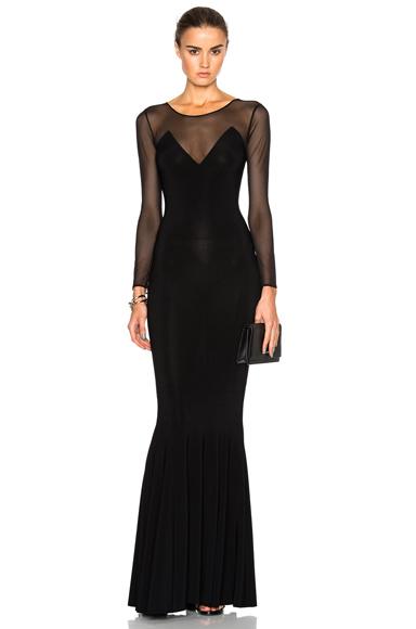 Norma Kamali Fishtail Dress in Black