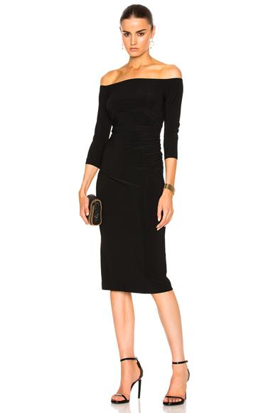 Norma Kamali Off Shoulder Shirred Waist Dress in Black