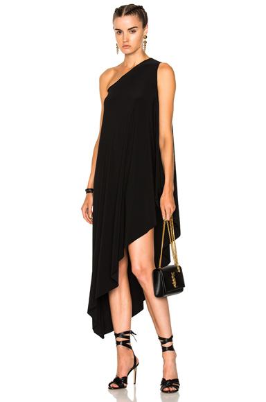 Norma Kamali One Shoulder Diagonal Dress in Black