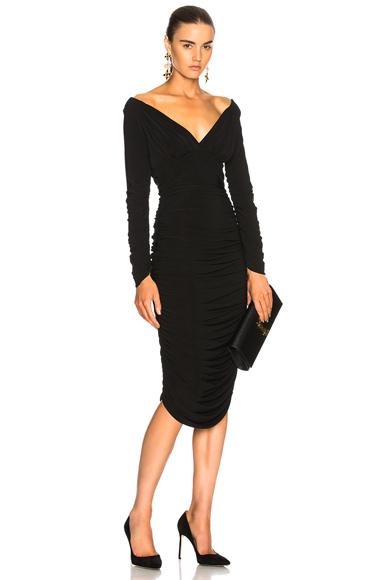 Norma Kamali Long Sleeve Tara Dress in Black