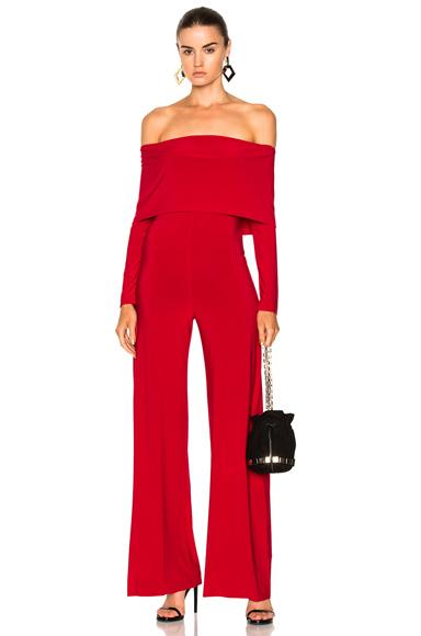 Norma Kamali Off Shoulder Jumpsuit in Red