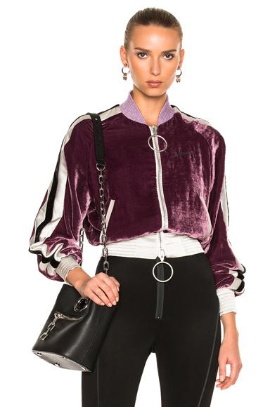 OFF-WHITE Velvet Bomber Jacket in Purple, White
