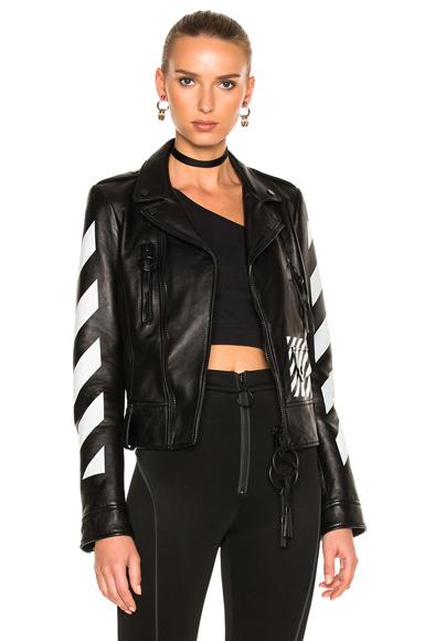 OFF-WHITE Diagonal Sleeve Leather Biker Jacket in Black, Stripes, White