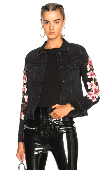 OFF-WHITE Cherry Blossom Diagonal Denim Jacket in Black, Floral