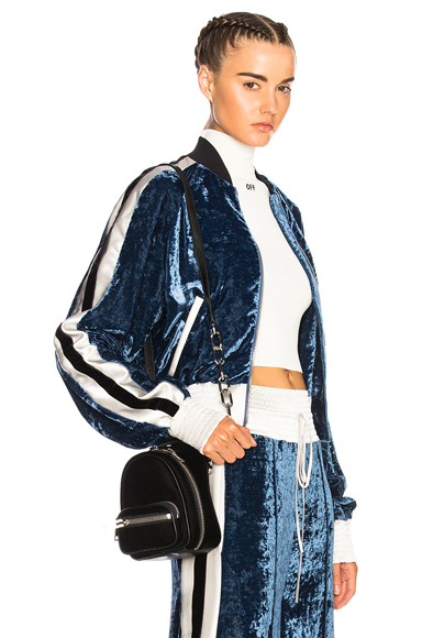 OFF-WHITE Velvet Bomber Jacket in Blue, Stripes, White