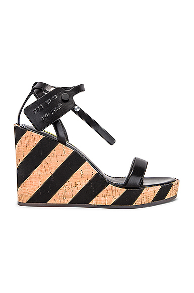 OFF-WHITE | OFF-WHITE Striped Wedge Sandal In Black,Neutral,Stripes. - Size 41 (Also In 37,38,39,40) | Goxip