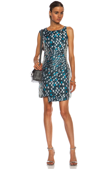 OPENING CEREMONY   Mirrorball Snap Front Poly-Blend Dress in Aqua Multi