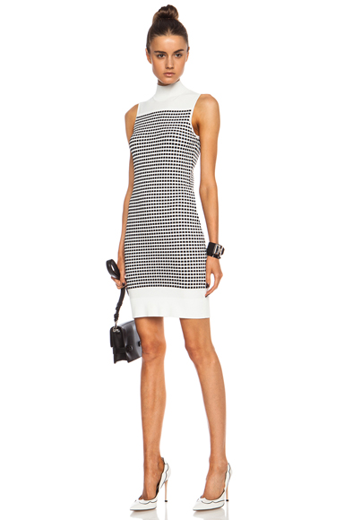 OPENING CEREMONY | Small Inbox Turtleneck Viscose-Blend Dress in White Multi