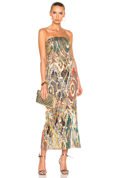 Oscar de la Renta Strapless Gown in Abstract, Green, Metallics, Red