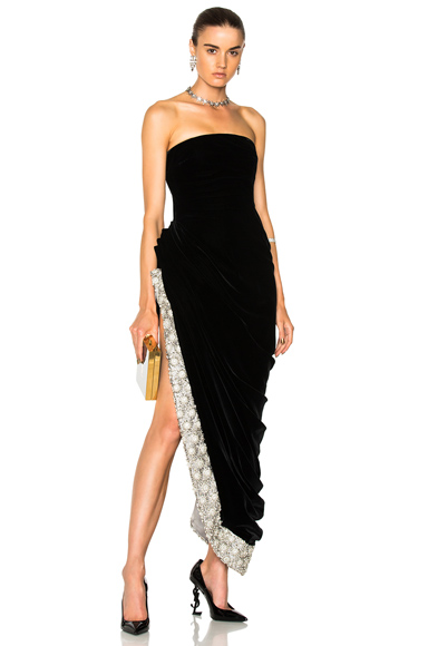 Oscar de la Renta Crystal Embellished Strapless Gown in Black