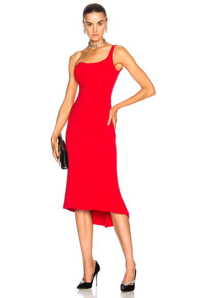 Oscar de la Renta for FWRD One Shoulder Cocktail Dress in Red