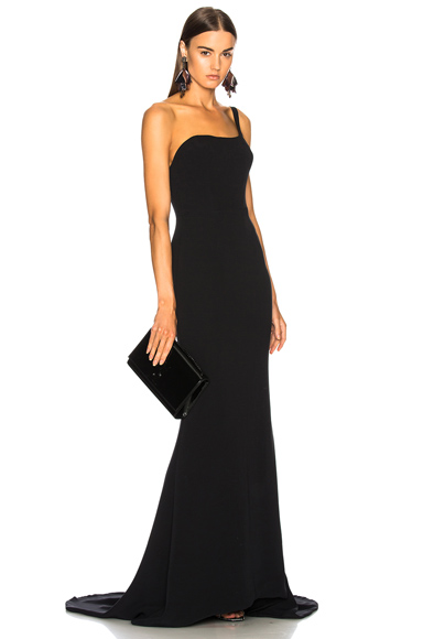 Oscar de la Renta for FWRD One Shoulder Gown in Black
