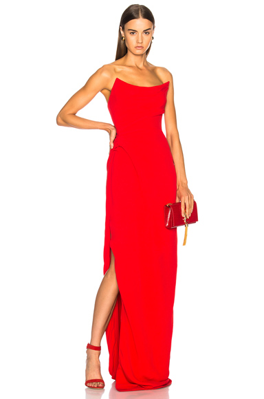 Oscar de la Renta Strapless Gown in Red
