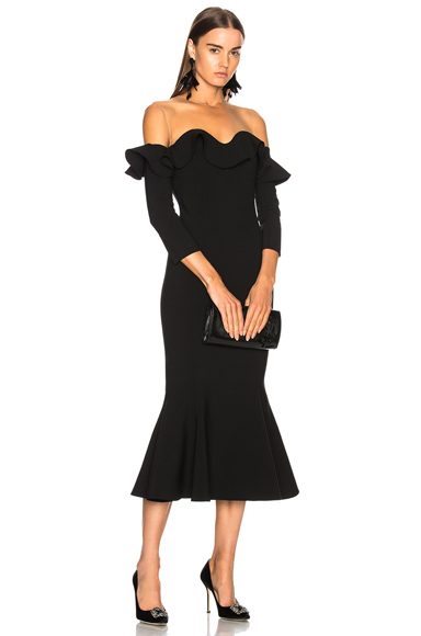 Oscar de la Renta Ruffled Off Shoulder Cocktail Midi Dress in Black