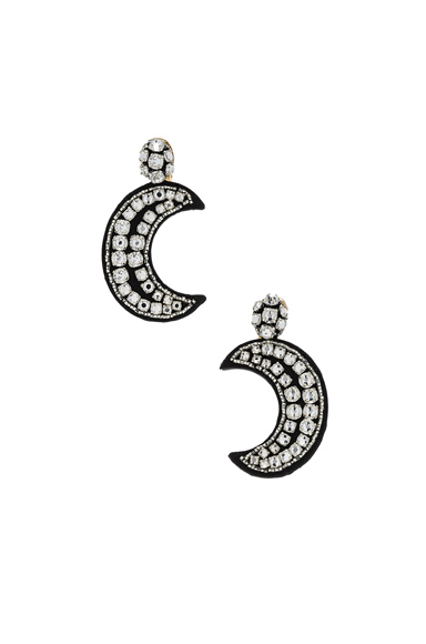 OSCAR DE LA RENTA | Oscar De La Renta Crystal Moon Earrings In Metallic. | Goxip