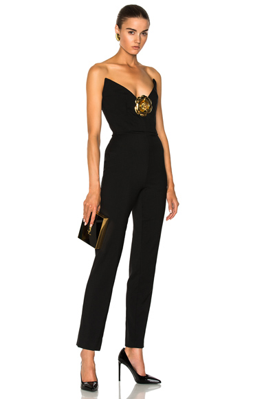 Oscar de la Renta Strapless Jumpsuit in Black