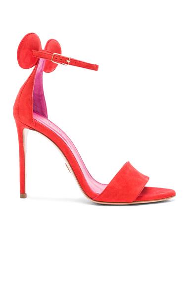 Oscar Tiye Suede Minnie Sandals in Red
