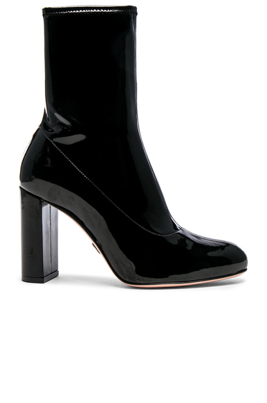 Oscar Tiye Patent Leather Giorgia Boots in Black