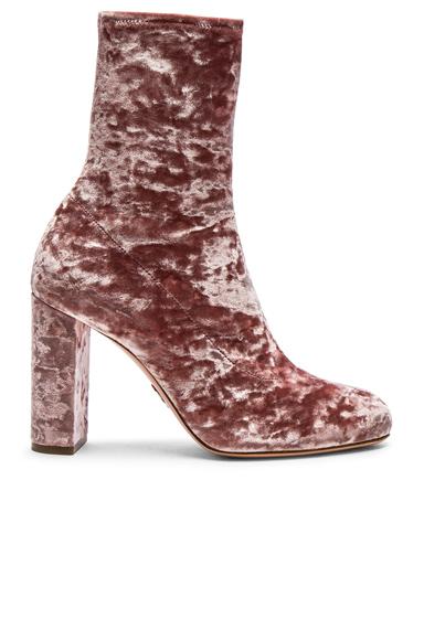Oscar Tiye Velvet Giorgia Boots in Pink