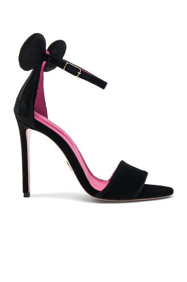 Oscar Tiye Velvet Minnie Sandals in Black