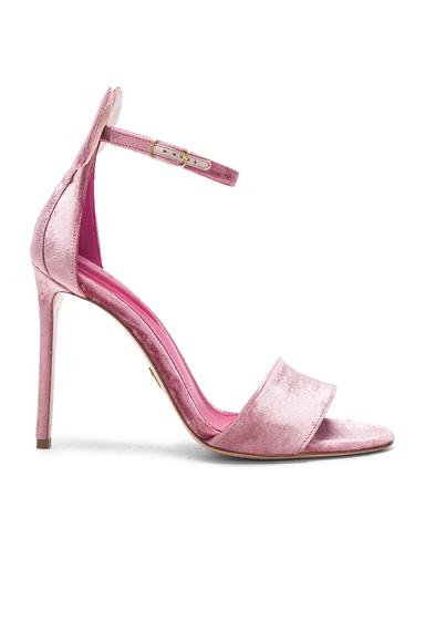 Oscar Tiye Velvet Minnie Sandals in Pink