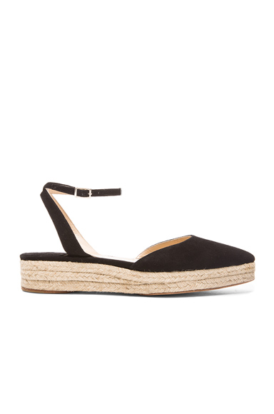 Paul Andrew Suede Rhea Espadrilles in Black