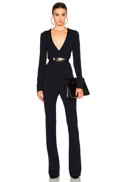 Photo of Pierre Balmain Deep V Jumpsuit in Blue online womens jumpsuits sales