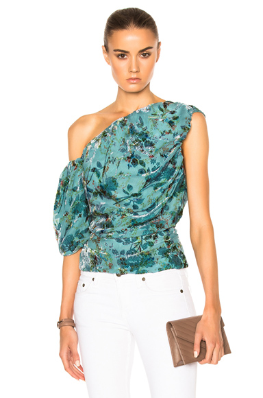 Preen by Thornton Bregazzi Scarlet Top in Blue, Floral. - size L (also in M,S)