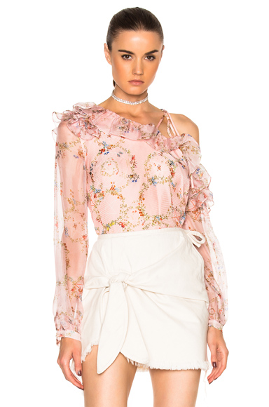Preen by Thornton Bregazzi Daralis Top in Floral, Pink. - size L (also in )