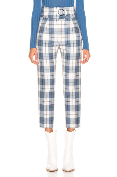 PETAR PETROV | Petar Petrov Hansville Pant In Blue,Plaid,White. - Size 38 (Also In 36) | Goxip