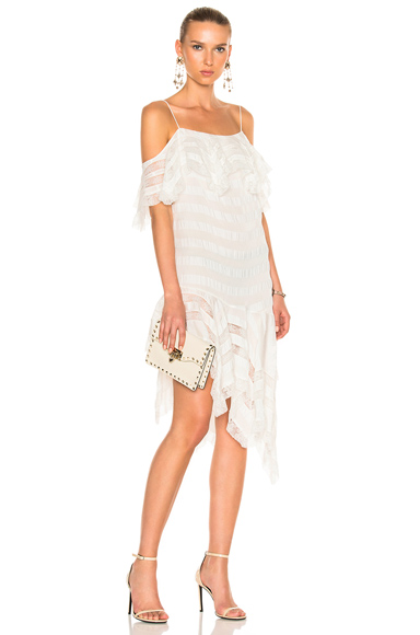 Philosophy di Lorenzo Serafini Cold Shoulder Asymmetrical Dress in White