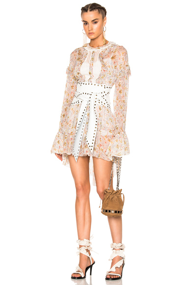 Philosophy di Lorenzo Serafini Long Sleeve Mini Dress in Floral, Neutrals