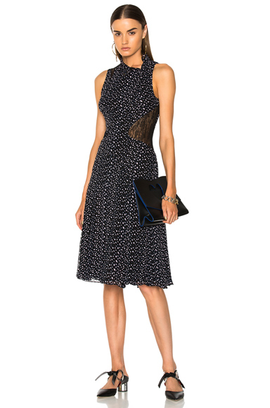 Proenza Schouler Printed Crepe Chiffon Sleeveless Midi Dress in Blue, Abstract