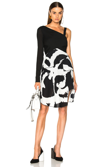 Proenza Schouler Pleated Printed Crepe One Sleeve Bandage Waist Dress in Abstract, Black, White